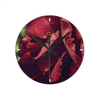 Burgundy Velvet Wet Rose Watercolor Round Clock