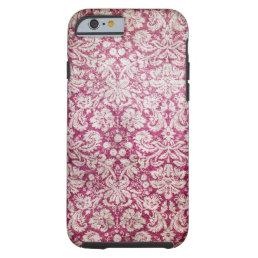 Burgundy Vintage Damask Tough iPhone 6 Case