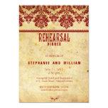 "Burgundy Vintage Lace Rehearsal Dinner Card 5"" X 7"" Invitation Card"