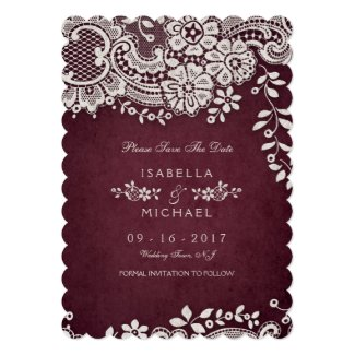 Burgundy wedding save the date cards with vintage floral lace