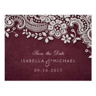 Burgundy vintage lace rustic weddng save the date postcard
