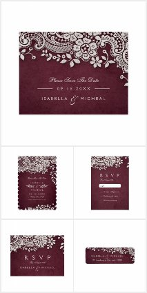 Burgundy Vintage Lace Wedding Collection