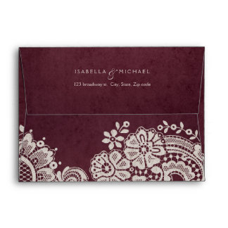 Burgundy vintage lace wedding return address envelope