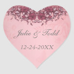Burgundy Vintage Lace Wedding Save The Date Stickers