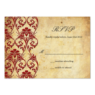 Burgundy Vintage Swirl Damask Wedding RSVP Card