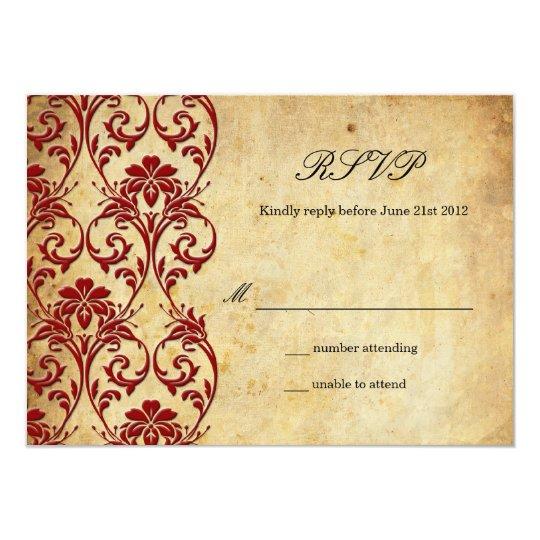 Burgundy Vintage Swirl Damask Wedding RSVP Card