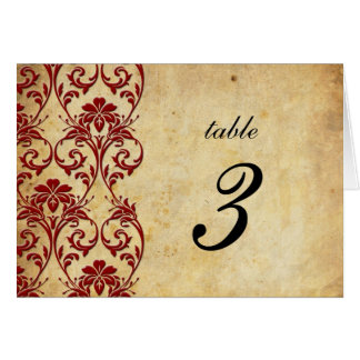 Burgundy Vintage Swirl Damask Wedding Table Number Stationery Note Card