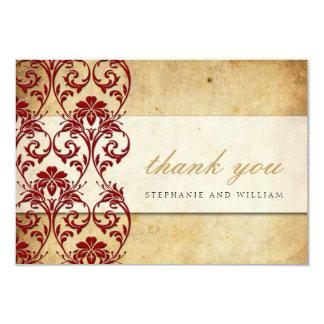 Burgundy Vintage Swirl Wedding Thank You Card