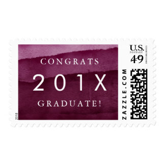 "Burgundy Watercolor ""Congrats Graduate"" Graduation Postage"