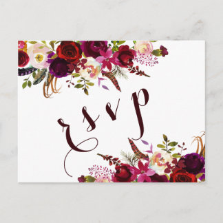 Burgundy Watercolor Floral Autumn Wedding RSVP Invitation Postcard