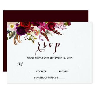 Burgundy Watercolor Floral Fall Wedding RSVP Card