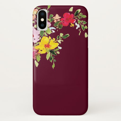Burgundy watercolor floral flowers chic stylish iPhone x case