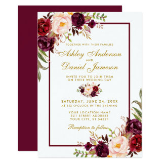 Burgundy Watercolor Floral Gold Wedding Invite BGB