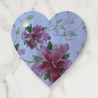 Burgundy Watercolor Floral Heart Favor Tags