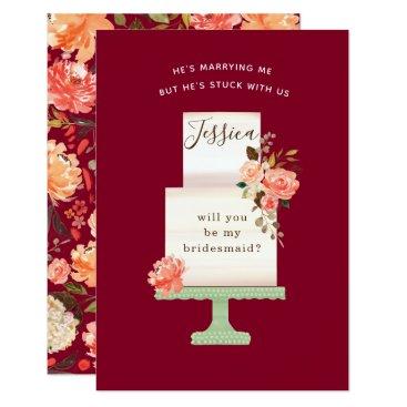 Bride Themed Burgundy Watercolor Floral Wedding Cake Bridesmaid Card