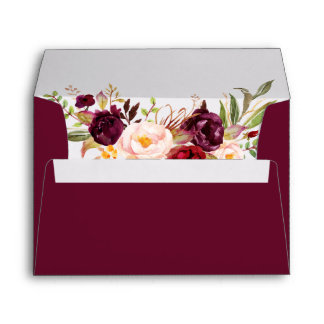 Burgundy Watercolor Floral Wedding Invitation Envelope