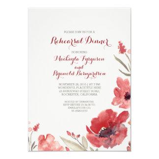 Burgundy Watercolor Florals Cute Rehearsal Dinner Card