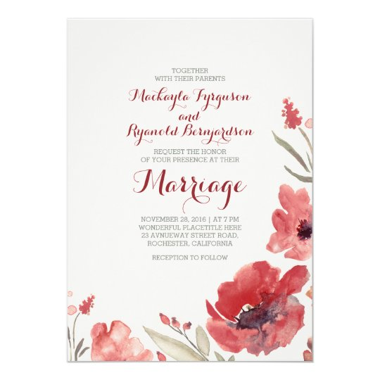 Awesome Burgundy Watercolor Florals Cute Wedding Invites