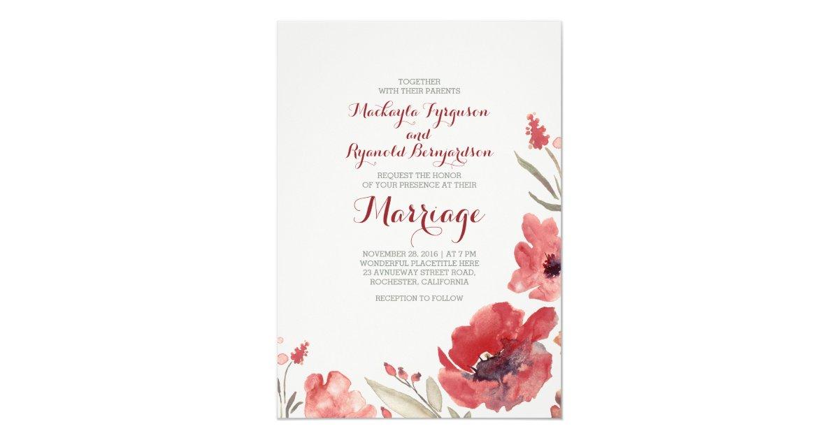Burgundy Watercolor Florals Cute Wedding Invites   Zazzle.com