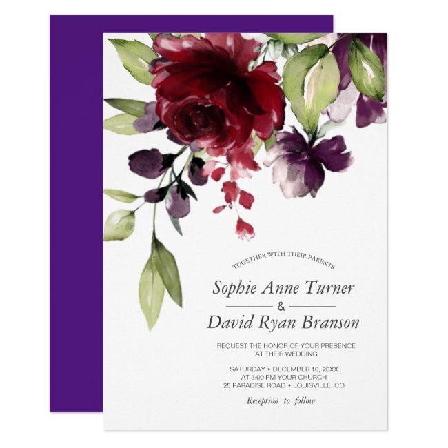 Burgundy Watercolor Flowers Royal Purple Wedding Invitation