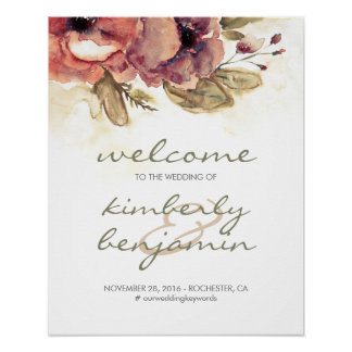 Burgundy Watercolor Flowers Wedding Welcome Sign