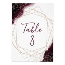 Burgundy Watercolor Framed Wedding Table Numbers