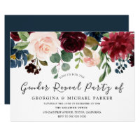 Burgundy Watercolor Gender Reveal Party Invitation