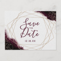 Burgundy Watercolor Geometric Frame Save the Date Announcement Postcard