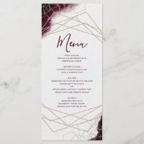 Burgundy Watercolor Geometric Frame Wedding Menu