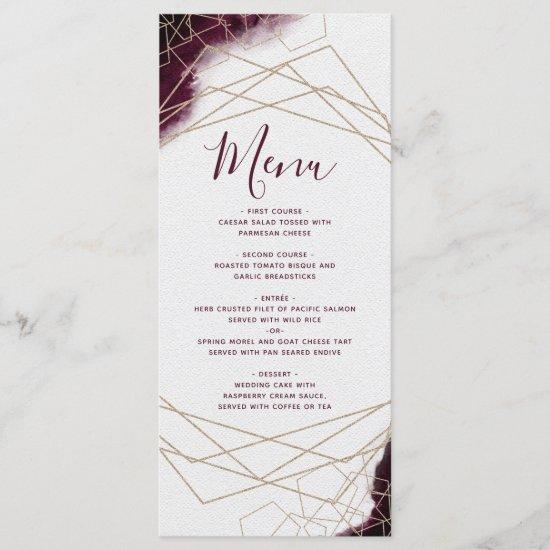 Burgundy Watercolor Geometric Frame Wedding Menu
