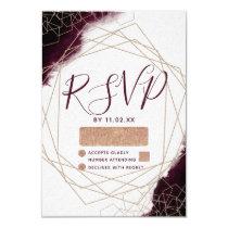 Burgundy Watercolor Geometric Frame Wedding RSVP Card