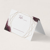 Burgundy Watercolor Geometric Table Number Place Card