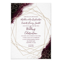 Burgundy Watercolor Geometric Wedding Invitation