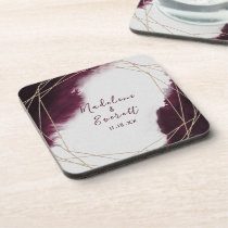 Burgundy Watercolor Geometric Wedding Monogram Beverage Coaster