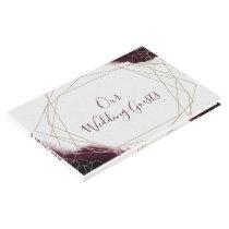 Burgundy Watercolor Geometric Wedding Monogram Guest Book