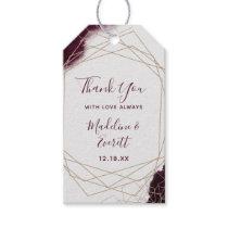 Burgundy Watercolor Geometric Wedding Thank You Gift Tags