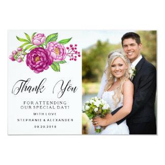 Burgundy Watercolor Peonie Wedding Thank You Photo Card