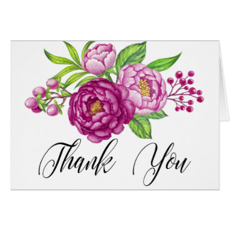 Burgundy Watercolor Peonies Wedding Thank You Card