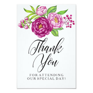 Burgundy Watercolor Peonies Wedding Thank You Card