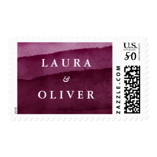 Burgundy Watercolor Personalized Wedding Postage