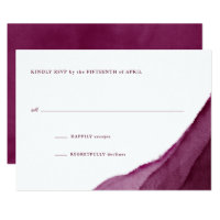 Burgundy Watercolor Wedding RSVP Card