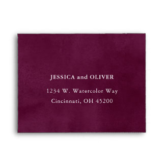Burgundy Watercolor Wedding RSVP Envelope