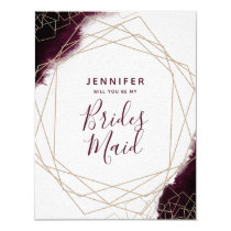 Burgundy Watercolor Will You Be My Bridesmaid Card