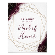 Burgundy Watercolor Will You Be My Maid of Honor Card