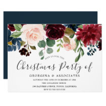 Burgundy Watercolor Work Office Christmas Party Invitation