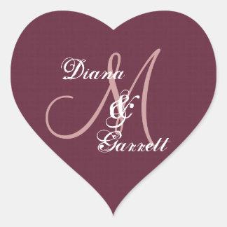 Burgundy Wedding Damask Monogram Any Initial V16 Heart Sticker