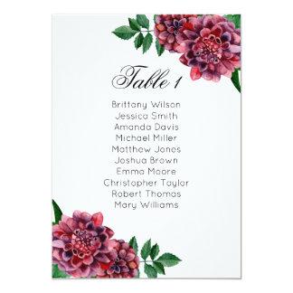 Burgundy wedding seating chart. Dahlias table plan Card