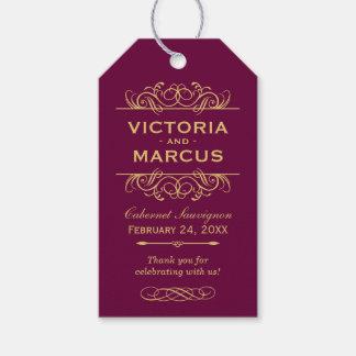 Burgundy Wedding Wine Bottle Monogram Favor Tags