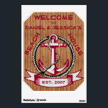 """Burgundy Welcome Anchor on Natural Planks Sign Wall Sticker<br><div class=""""desc"""">Anchor in burgundy surrounded by a rope circle with ribbon below containing customizable text set on a background of natural slightly weather worn wood planks.</div>"""