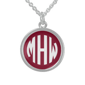 Burgundy White 3 Initials in a Circle Monogram Sterling Silver Necklaces